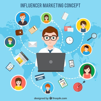 Diseño de influencer marketing sobre mapa del mundo