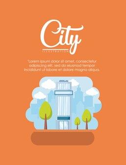 Diseño de infografía de elementos de la ciudad con la construcción de la ciudad
