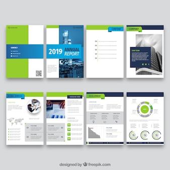 Diseño de informe anual en estilo plano