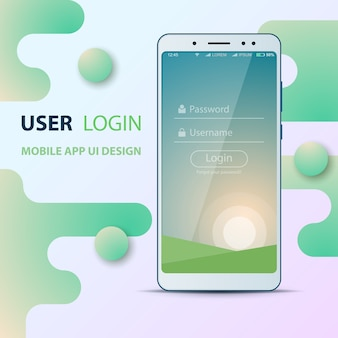 Diseño de interfaz de usuario. icono de teléfono inteligente. inicio de sesión y contraseña
