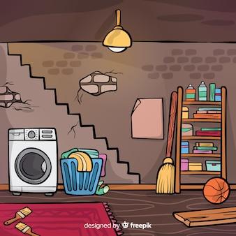 Diseño de interior de sótano dibujado a mano