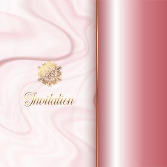 Diseño de invitación con una textura de mármol rosa
