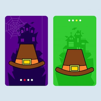 Diseño de invitación de feliz halloween con vector de sombrero
