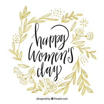 Diseño de lettering para el día de las mujeres con hojas
