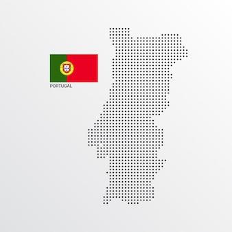 Diseño de mapa de portugal con bandera y vector de fondo claro