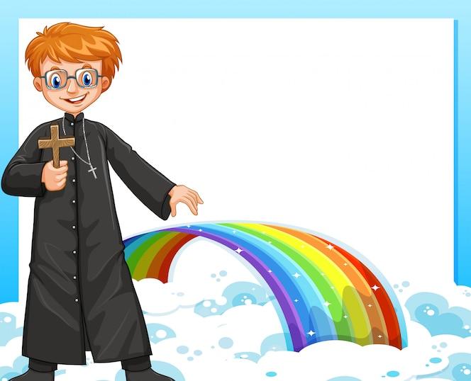 Diseño de marco con el sacerdote y el arco iris