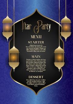 Diseño de menú de fiesta iftar