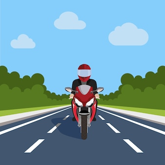 Diseño de moto en la carretera