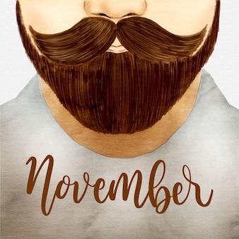 Diseño de movember con barba dibujada a mano