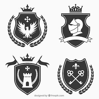 Diseño de pack de emblemas de caballero