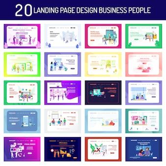 Diseño de página de aterrizaje gente de negocios y trabajadores