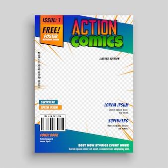 Diseño de página de portada de cómic de acción