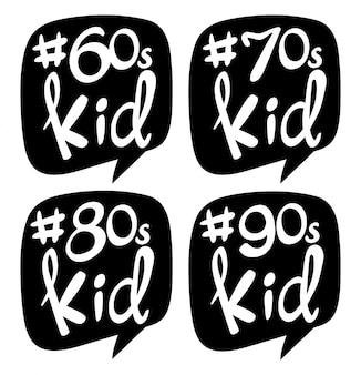 Diseño de pegatinas para niños de diferentes generaciones