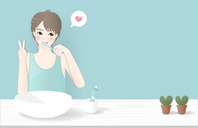 Diseño de personajes con un niño cepillarse los dientes en el baño