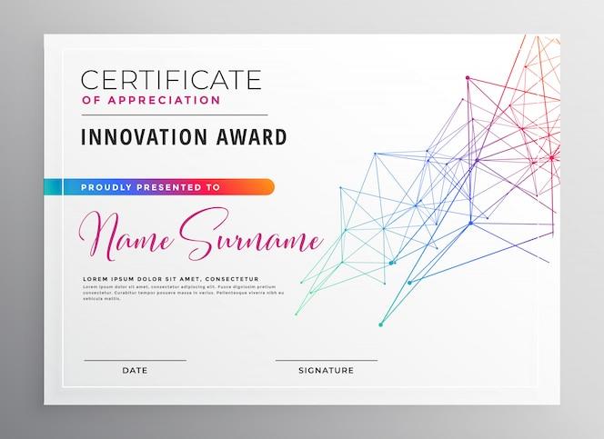 Diseño de plantilla de certificado colorido creativo