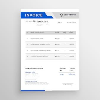 Diseño de plantilla de factura azul moderno