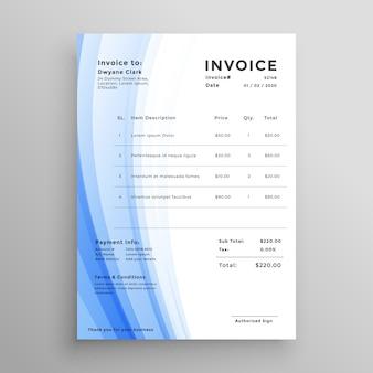 Diseño de plantilla de factura con forma ondulada azul