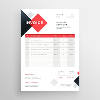 Diseño de plantilla de factura moderna en tema rojo
