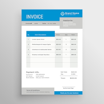 Diseño de plantilla de factura profesional azul y gris
