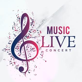 Diseño de plantilla de flyer de cartel de concierto vivo de música