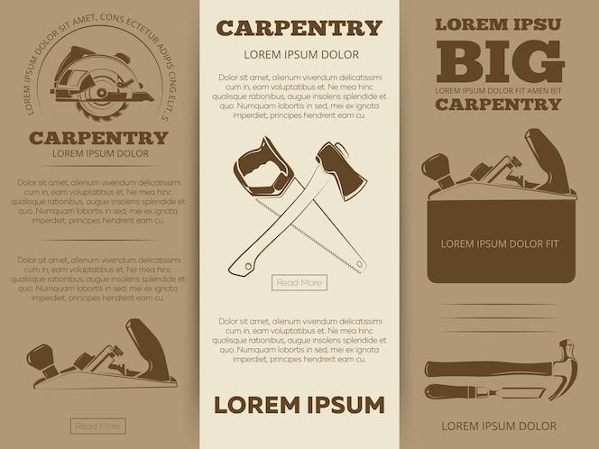 Diseño de plantilla de folletos de folleto de herramientas de carpintería