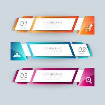 Diseño de presentación de infografía banner opcional