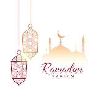 Diseño de saludo de ramadan kareem con lámparas colgantes y mezquita