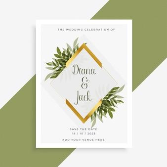 Diseño de tarjeta de boda elegante con marco de hojas