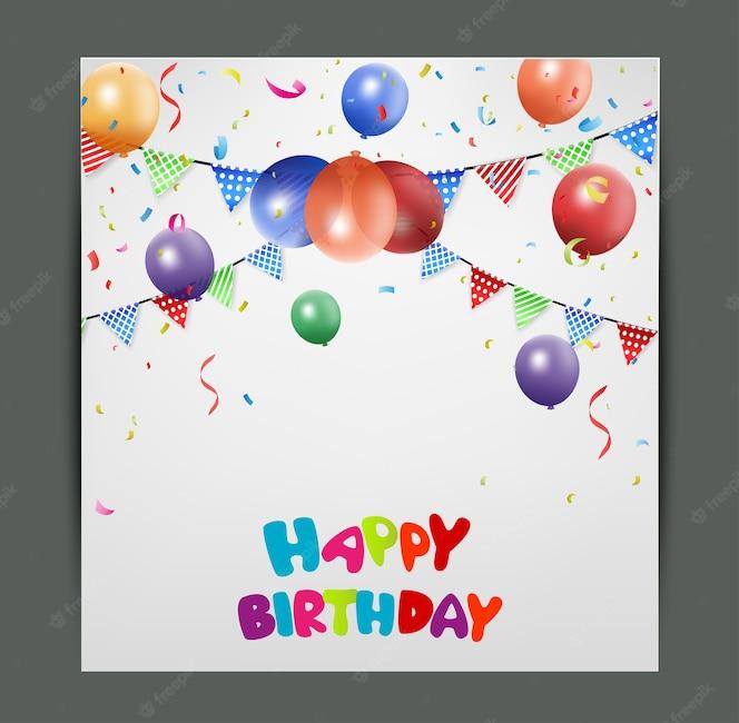 Diseño de tarjeta de cumpleaños con globos de colores