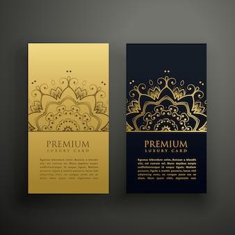 Diseño de tarjeta de estilo mandala de lujo
