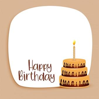 Diseño de tarjeta de feliz cumpleaños con espacio de texto y pastel