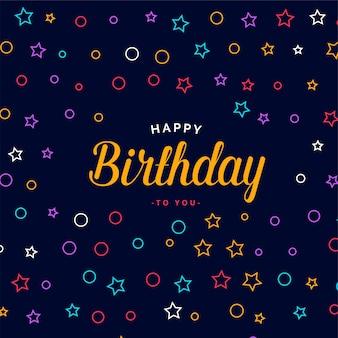 Diseño de tarjeta de feliz cumpleaños con estilo con patrón de colores
