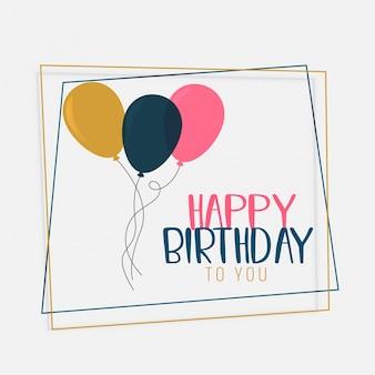 Diseño de tarjeta de feliz cumpleaños con globos de color plano