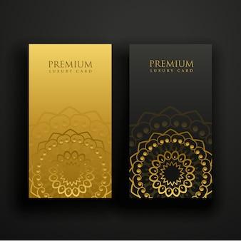Diseño de tarjeta de visita de mandala de lujo