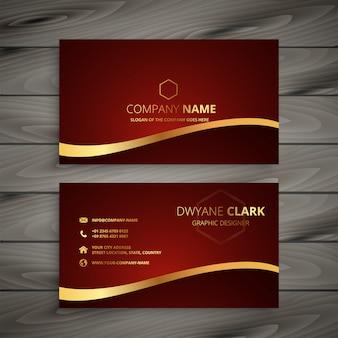 Diseño de tarjeta de visita dorada lujo rojo