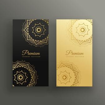 Diseño de tarjeta de visita estilo mandala premium