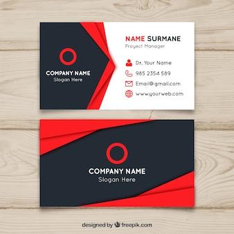 Diseño de tarjeta de visita roja y negra