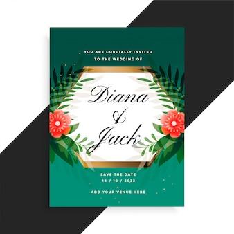 Diseño de tarjeta floral de invitación de boda con flores y hojas