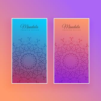 Diseño de tarjeta hermosa mandala colorido