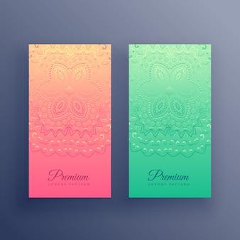 Diseño de tarjetas con estilo colorido mandala