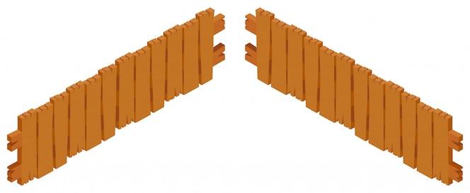 Diseño de valla de madera sobre fondo blanco
