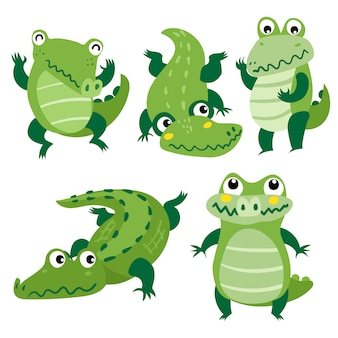 Diseño de vector de personaje de cocodrilo