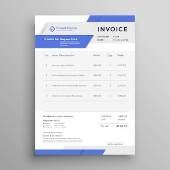 Diseño de vector de plantilla de factura comercial