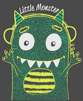 Diseño de vector lindo monstruo para la impresión de camiseta