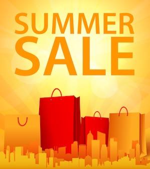 Diseño de venta de verano con bolsa de compras
