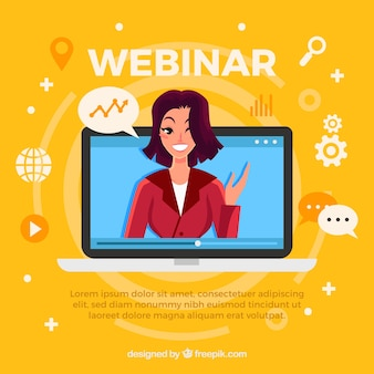 Diseño de webinar con mujer en portátil
