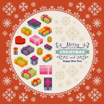 Diseño de decoración de feliz navidad hecho de cajas de regalo y copos de nieve.