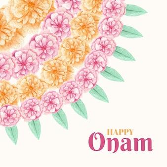 Diseño de decoración floral onam acuarela