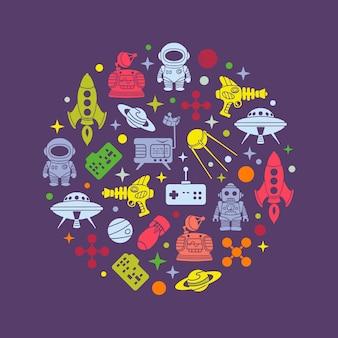 Diseño de decoración de vectores de ciencia ficción retro
