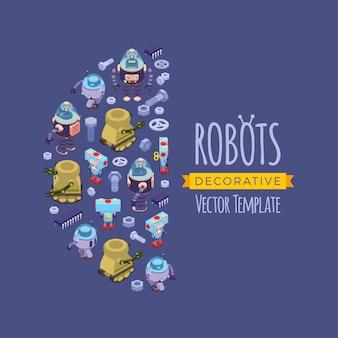 Diseño de decoración de vectores hecho de robots